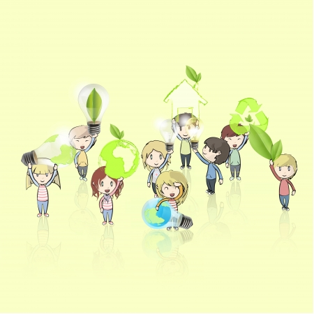 Kids holding ecological icons and eco bulbs  Vector design