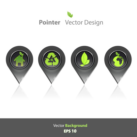 Collection of ecological icons inside pointers  Vector design