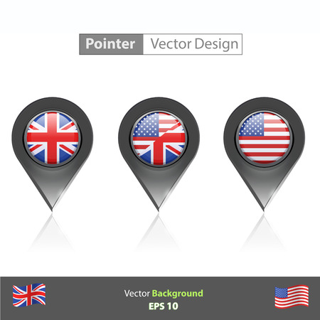 Set of English icon inside pointers  Vector design   Vector