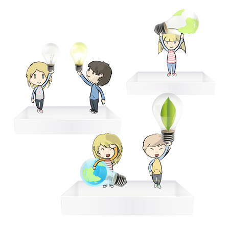 Kids holding eco light bulbs on white shelves Vector design
