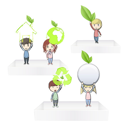 Kids holding ecological icons on white shelves Vector design