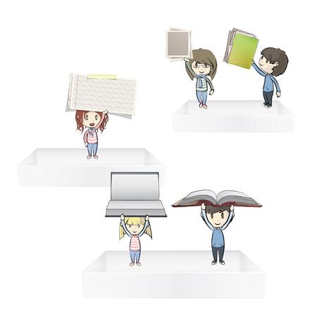 Kids holding books on white shelves  Vector design Stock Vector - 22785787