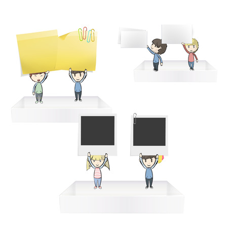 Group of kids holding posit, business card and empty photo on white shelves  Vector design Vector