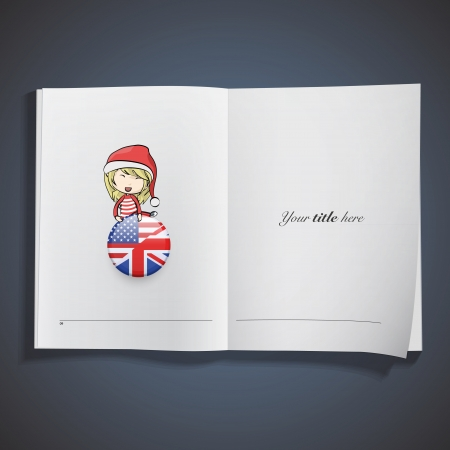 Girl with Santa Claus costume holding a english pin printed on book. Stock Vector - 22895618