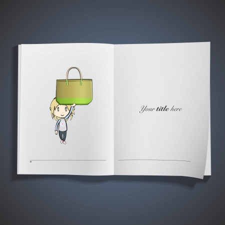 Girl holding green bag printed on book. Vector design Stock Vector - 22895627
