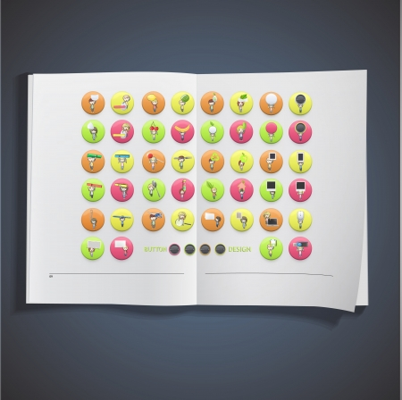Set of kids inside colorful button printed on book. Vector design Stock Vector - 22895629