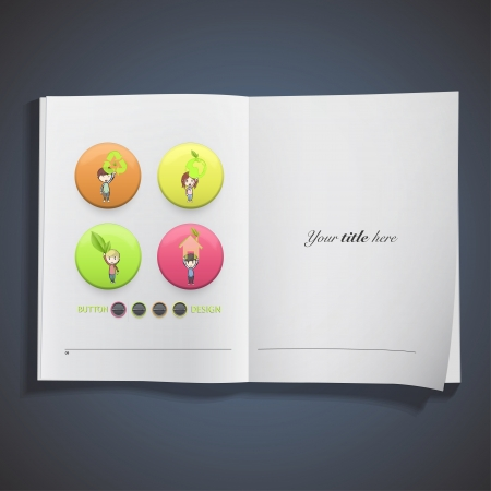 Kids holding ecological icons printed on book. Vector design Stock Vector - 22895630