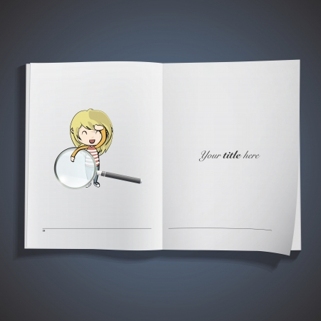 Girl holding a magnifying glass printed on book. Vector design Stock Vector - 22895631