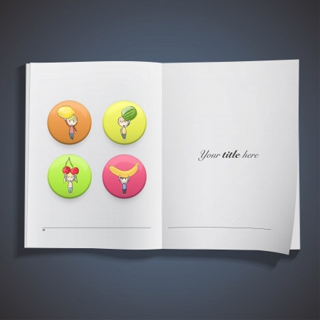 Kids holding colorful fruits printed on book. Vector design Stock Vector - 22895632