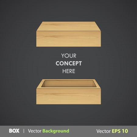 wooden box: Open wooden box.  Vector design.