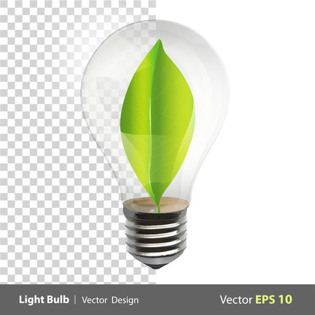 Bulb with a green leaf inside. Realistic vector design  Vector