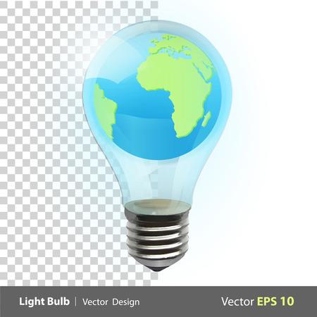 Eco light bulb with world inside. Vector background illustration.  Vector