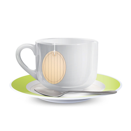 teabag: White cup with tea-bag over isolated background. Vector design.  Illustration