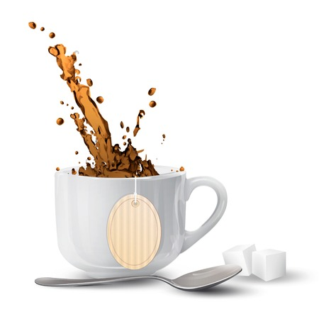 White cup with tea-bag over isolated background. Vector design.  Vector