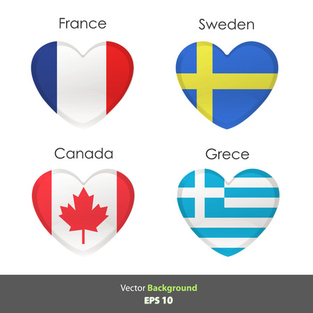 Set of flags heart. Vector design Vector