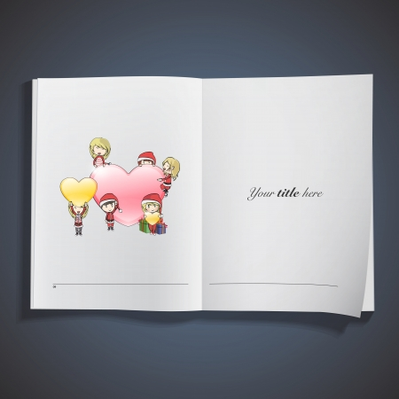Kids  around big heart printed on book. Vector design  Stock Vector - 23098143