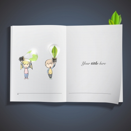 Kids holding eco light bulbs printed on book. Vector design  Stock Vector - 23098147