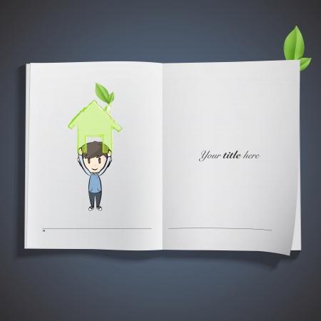 Girl holding an ecological icon printed on book. Vector design Stock Vector - 23098149