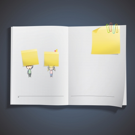 posit: Group of kids holding yellow paper printed on book. Vector design