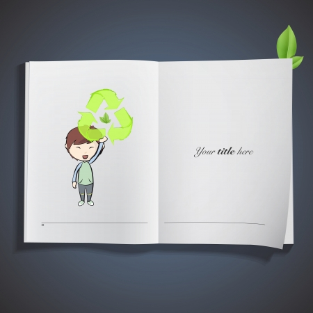 Girl holding an ecological icon printed on book. Vector design Stock Vector - 23098152