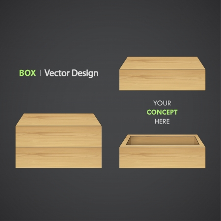 wooden box: Set of Wooden box. Vector design.  Illustration