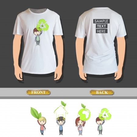 Kids holding ecological icons printed on shirt. Vector design Stock Vector - 23098210