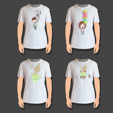 Set of white shirt design Vector