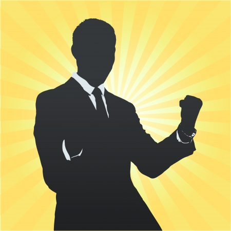 young black man: Silhouette of business man winner. Vector design.