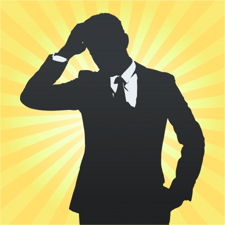 young black man: Silhouette of business man thinking isolated. Vector design. Illustration
