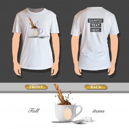 teabag: White cup with tea-bag printed on shirt. Vector design  Illustration