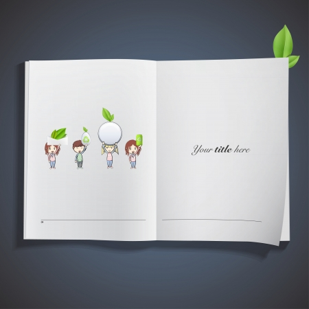Kids holding eco elements printed on book. Vector design.  Vector