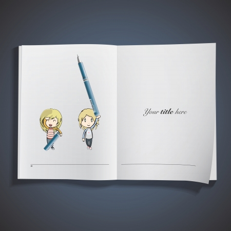 Girls holding blue pen printed on book. Vector design.  Stock Vector - 23312494