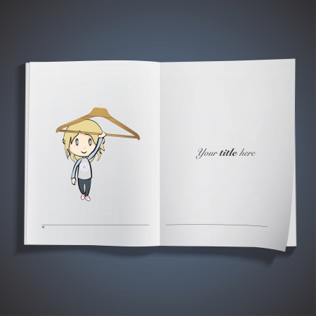 Girl holding a hanger printed on book. Vector design.  Vector