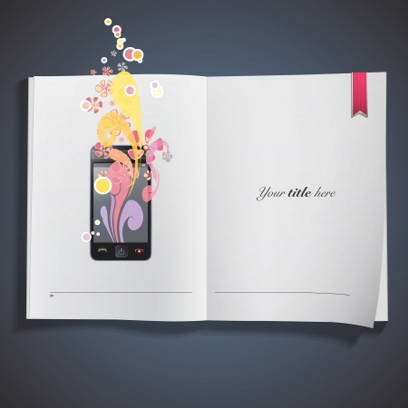 Phone with fashion colorful design printed on book. Vector design.  Vector