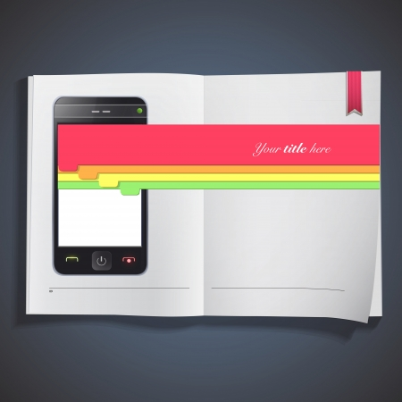 Realistic Phone with colorful select button printed on book. Vector design.  Vector