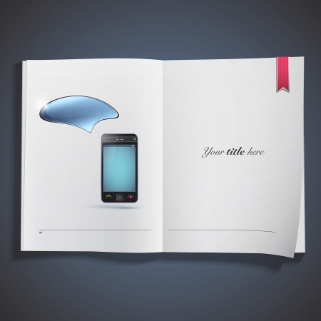 Phone with speech bubble printed on book. Vector design.  Vector