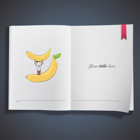 Bananas with kid printed on book. Vector design. Stock Vector - 23312508