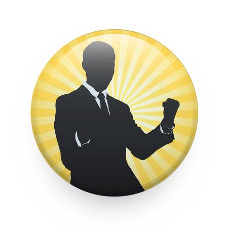 Silhouette of businessman printed on badge. Vector design Illustration