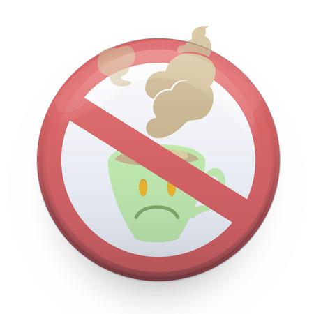 verboden teken met koffiekop Vector ontwerp Stock Illustratie
