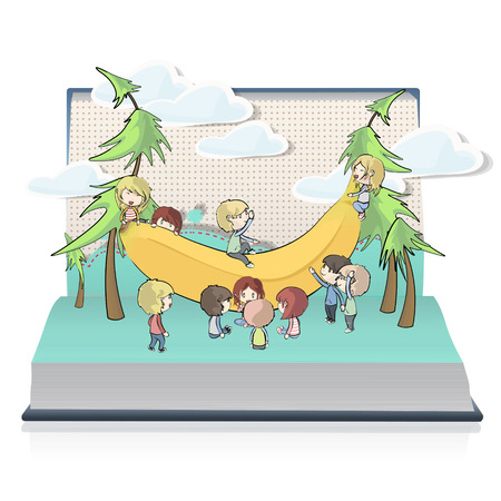 Bananas with many kids on book  Vector design  Stock Vector - 23312569