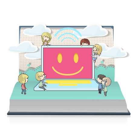 Kids around modern laptop on book  Vector design  Vector