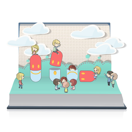 Kids around cute pills on book  Vector design  Illustration