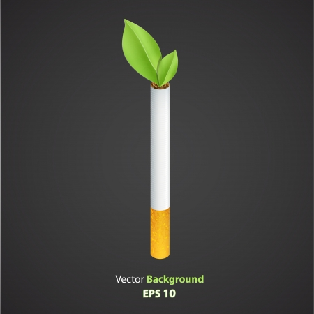 Ecologic cigarette isolated over black background  Vector