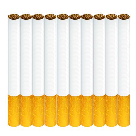 Group of cigarettes isolated over white background  Vector