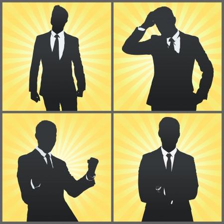 executives: Set of Silhouette business man  Vector design
