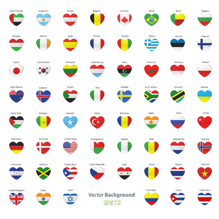 Set of flags heart  Vector design  Vector