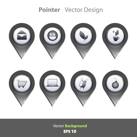 Black and white pointer with icons inside Vector