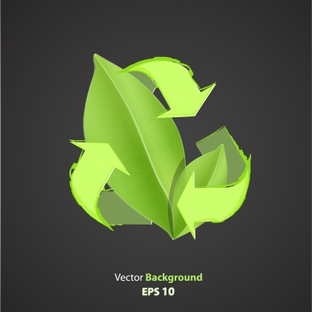 Recycle icon with leaf inside. Vector design.  Vector