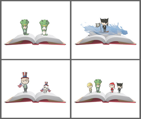 Kids with costumes on PopUp book. Vector illustration.  Vector