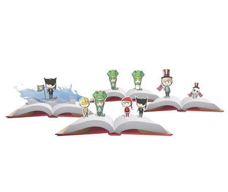 Kids with costumes on PopUp book. Vector illustration. Stock Vector - 23462137